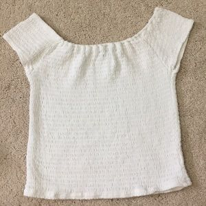 WHITE OFF THE SHOULDER BRANDY MELVILLE TOP